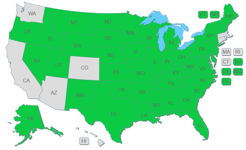 EZ-pdh.com approved provider map of USA for professional engineers